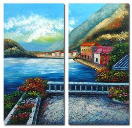 "Modern Art Acrylic - Larry Vargas ""Seascape"" Multi Panel - Pret 