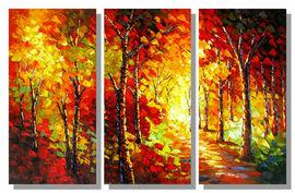 "Modern Art Oil Painting - Larry Vargas ""Trees Garden"" Multi Panel - Pret 