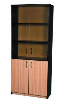 Dulap cu vitrina, 80 x 36 x 185 cm, mahon cu negru mat - Pret | Preturi Dulap cu vitrina, 80 x 36 x 185 cm, mahon cu negru mat