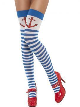 Ciorapi 3/4 albastru/alb cu ancora rosie - Pret | Preturi Ciorapi 3/4 albastru/alb cu ancora rosie