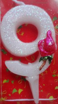 Lumanare aniversara pentru tort cifra 9 ROSES - Pret | Preturi Lumanare aniversara pentru tort cifra 9 ROSES