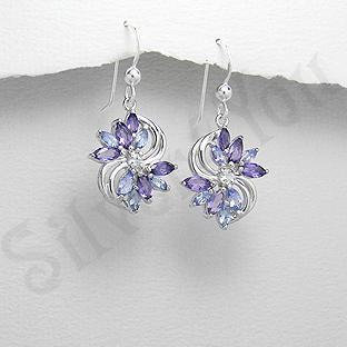 Silver4You.ro - Cercei argint floare ametist mov tanzanit zircon - Pret | Preturi Silver4You.ro - Cercei argint floare ametist mov tanzanit zircon