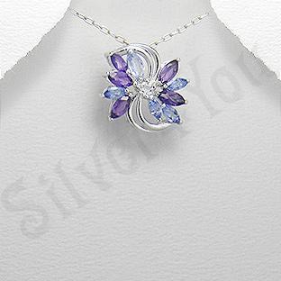 Silver4You.ro - Pandantiv argint floare tanzanit albastru ametist mov zircon aspect aur alb - Pret | Preturi Silver4You.ro - Pandantiv argint floare tanzanit albastru ametist mov zircon aspect aur alb