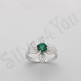 Silver4You.ro - Inel argint cu zircon verde tip aur alb - Pret | Preturi Silver4You.ro - Inel argint cu zircon verde tip aur alb