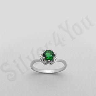 Silver4You.ro - Inel argint zircon verde aspect aur alb - Pret | Preturi Silver4You.ro - Inel argint zircon verde aspect aur alb