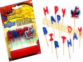 Lumanari litere HAPPY BIRTHDAY Spiderman - Pret   Preturi Lumanari litere HAPPY BIRTHDAY Spiderman