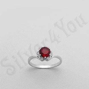 Silver4You.ro - Inel argint zircon rosu aspect aur alb - Pret | Preturi Silver4You.ro - Inel argint zircon rosu aspect aur alb