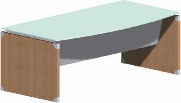 Birou arcuit X-Time Work Stop, 200 cm, pazie metalica, sticla - Pret | Preturi Birou arcuit X-Time Work Stop, 200 cm, pazie metalica, sticla
