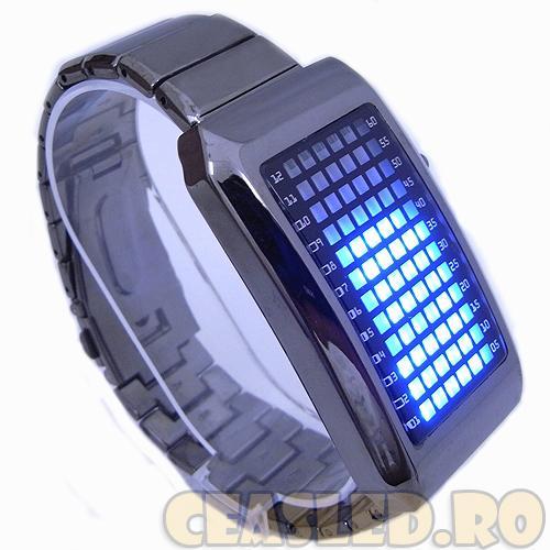 Super ceas led-uri Zero Kelvin! 72 led-uri albastre, bratara metalica, matrix, unisex. Nou - Pret | Preturi Super ceas led-uri Zero Kelvin! 72 led-uri albastre, bratara metalica, matrix, unisex. Nou