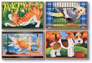 Set 4 puzzle lemn in cutie - animale de companie - Pret | Preturi Set 4 puzzle lemn in cutie - animale de companie