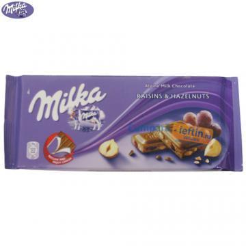 Ciocolata cu alune si stafide Milka 100 gr - Pret | Preturi Ciocolata cu alune si stafide Milka 100 gr