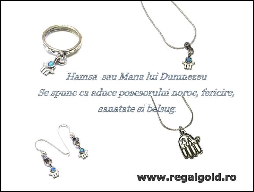 Un colier delicat Hamsa , cercei sau inel marca Regal Gold - Pret | Preturi Un colier delicat Hamsa , cercei sau inel marca Regal Gold